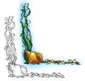 Frontière de mer avec la coquille et les algues Image stock
