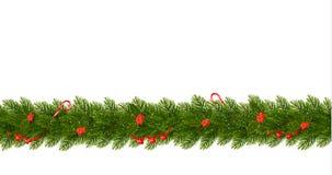 Frontière de Noël avec des branches d'arbre Bannière horizontale Images libres de droits