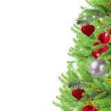 Frontière de Noël avec des brindilles d'arbre de sapin Photographie stock