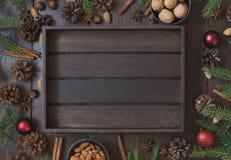 Frontière de Noël avec l'ingrédient pour faire avec cuire au four l'espace de copie Fond d'an neuf photo libre de droits