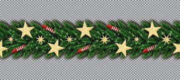 Frontière de Noël avec les étoiles d'or de scintillement, les branches d'arbre de Noël et les Rocket rouges sur le fond transpare illustration stock