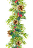 Frontière de Noël - branches d'arbre de sapin avec les cônes et le gui Bande d'aquarelle Photo stock