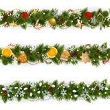 Frontière de Noël de pin de vecteur illustration libre de droits