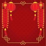 Frontière de nouvelle année chinoise et avoir le porc, la lanterne et le pétard avec le fond rouge de modèle illustration stock