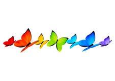 Frontière de papillons d'arc-en-ciel pour votre conception 4 Images libres de droits