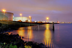 Frontière de port la nuit 1 Images stock