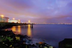 Frontière de port la nuit 2 Photo stock