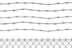 Frontière de sécurité avec 5 fils barbelés Photos libres de droits