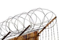 Frontière de sécurité avec le barbelé Photographie stock libre de droits