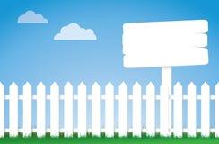 Frontière de sécurité de piquet blanche avec un signe illustration libre de droits