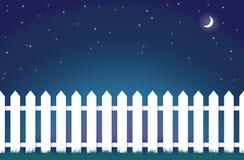 Frontière de sécurité de piquet blanche la nuit illustration de vecteur