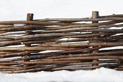 Frontière de sécurité en bois avec les branchements tissés Photo libre de droits