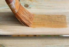 Frontière de sécurité en bois de peinture Photographie stock