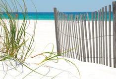 Frontière de sécurité et herbe sur la plage de Pensacola Photo stock