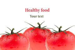 Frontière de tomate sur un fond blanc Groupe de tomates fraîches Macro Texture D'isolement Modèle de tomate Image libre de droits