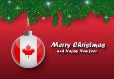 Frontière de vecteur des branches et de la boule d'arbre de Noël avec le drapeau du Canada Joyeux Noël et bonne année illustration libre de droits