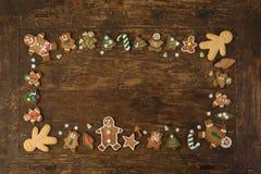 Frontière des biscuits de pain d'épice photos libres de droits