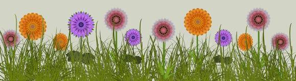 Frontière des fleurs d'été dans une conception numérique d'art de pré Illustration Stock