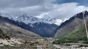 Frontière du Thibet et de l'Inde Photo stock