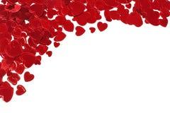 Frontière faisante le coin de coeurs de confettis Photographie stock