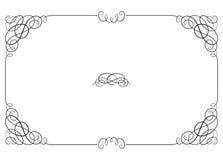 Frontière fleurie rectangulaire noire avec des coins de vignette Photo libre de droits