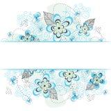 Frontière florale bleue de fond Photo libre de droits