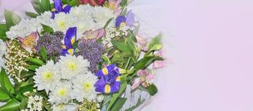 Frontière florale de fête avec le bouquet des fleurs colorées - ressort Image libre de droits