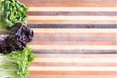 Frontière fraîche de laitue sur un conseil décoratif photographie stock libre de droits