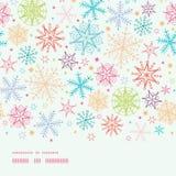 Frontière horizontale de flocons de neige colorés de griffonnage illustration stock