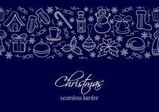 Frontière horizontale sans couture de Noël Silhouettes des éléments d'hiver Photos stock