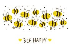 Frontière mignonne d'abeilles de miel pour votre conception illustration stock