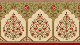 Frontière mughal indienne de fleur illustration stock
