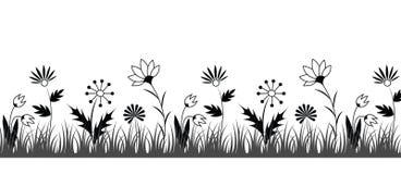 Frontière noire et blanche de fleur Photos stock