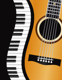 Frontière onduleuse de piano avec l'illustration de guitare Image libre de droits