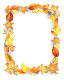 Frontière orange de feuille d'isolement par illustration d'aquarelle d'Autumn Leaves Fall Frame Template Taches d'aquarelle Calib Illustration de Vecteur