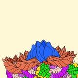 Frontière peinte par résumé avec une grande fleur Photographie stock