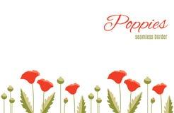 Frontière qu'on peut répéter de fleur avec les pavots et les feuilles rouges de vert Configuration florale Photographie stock