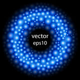 Frontière ronde abstraite Fond de cellules Billes bleues St moléculaire Photo libre de droits