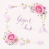 Frontière rose fraîche de cadre de roses d'isolement Images stock