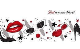Frontière rouge de mode de lèvres Images libres de droits