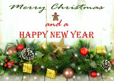 Frontière rustique de Noël avec le message Image stock