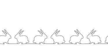 Frontière sans couture avec des silhouettes de lapins illustration libre de droits