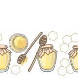 Frontière sans couture avec le plongeur de miel et le miel dans le pot avec le décor de nid d'abeilles sur le fond blanc Photographie stock