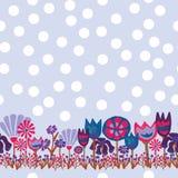 Frontière sans couture blanche verte rouge violette pourpre de modèle de points de polka de rétro pré de fleurs illustration de vecteur