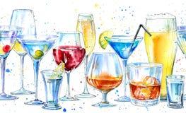 Frontière sans couture d'un shampagne, d'un martini, d'un whiskey, d'une vodka, d'un vin, d'une boisson alcoolisée, d'une bière,  illustration stock