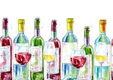 Frontière sans couture d'un vin et d'un verre Peinture d'une boisson d'alcool Photographie stock libre de droits