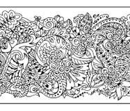 Frontière sans couture dans le style de zentangle Images stock