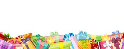 Frontière sans couture de boîte de cadeau de Noël Vecteur illustration stock