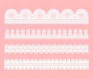 Frontière sans couture de dentelle Placez des rubans blancs de filigrane de dentelle illustration libre de droits