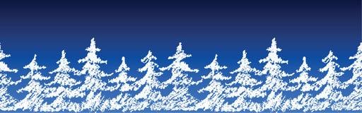 Frontière sans couture de modèle de silhouette d'arbre de Joyeux Noël sur l'obscurité bleue Remettez à craie de dessin la couleur Photos libres de droits